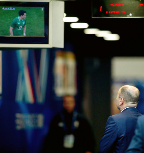 Eddie Jones watches the end of the Ireland vs France game
