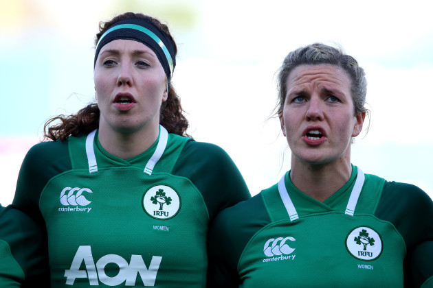 Aoife McDermott and Orla Fitzsimons during the national anthem