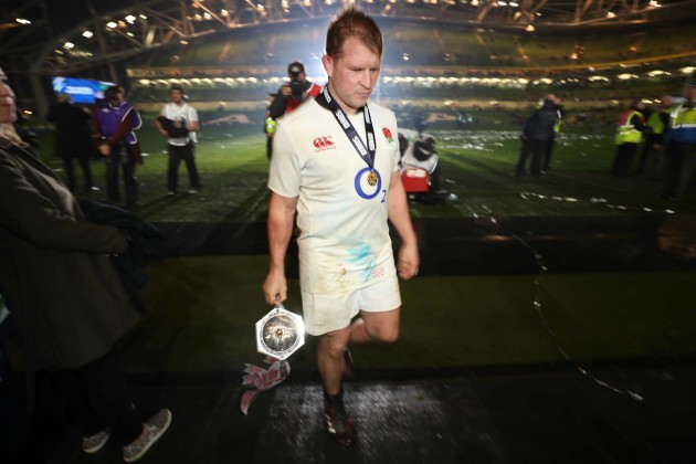 Dylan Hartley with the RBS 6 Nations trophy