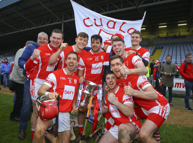 Cuala players celebrate at the end of the game