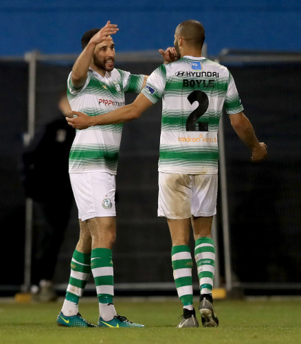 Roberto Lopes and Ethan Boyle of Rovers celebrate the first goal of the game