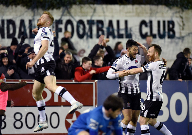 Sean Hoare, Patrick Hoban and Stephen O'Donnell celebrate their side's goal