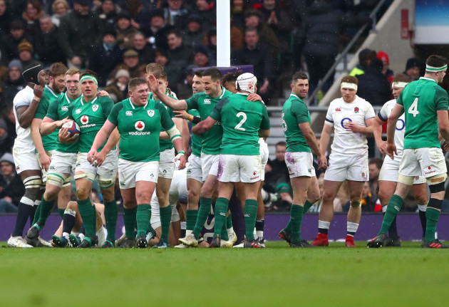 CJ Stander celebrates scoring their second try with teammates