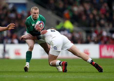 Keith Earls tackled by Sam Simmonds