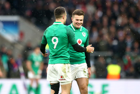Conor Murray congratulates Jacob Stockdale on his try