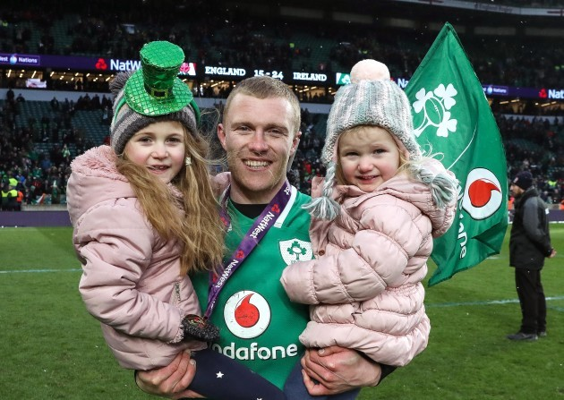 Keith Earls celebrates with his daughters Ella May and Laurie