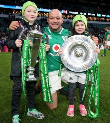 Rory Best celebrates winning with his children Ben and Penny