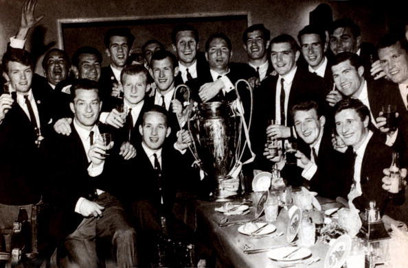 Sport. Football. European Cup Final. Lisbon, Portugal. 25th May 1967. Celtic 2 v Inter Milan 1. The Celtic team are pictured with the trophy at their celebration banquet after the match. The team includes Steve Chalmers, Billy McNeill, Bobby Murdoch, Tomm