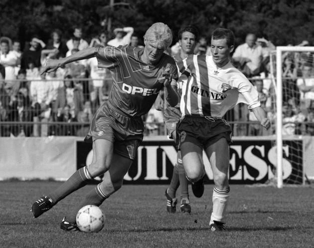 Stefan Effenberg of Bayern Munich in action against Cork City in 1991 23/2/2010