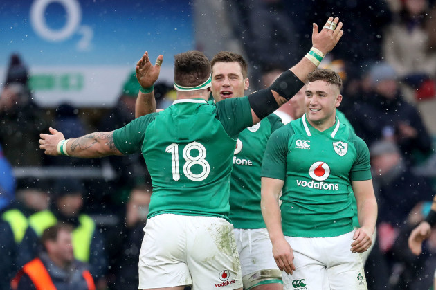 Andrew Porter, CJ Stander and Jordan Larmour celebrate after the game