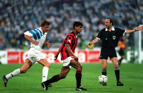 Football. UEFA Champions League Final. Munich, Germany. 26th May 1993. Marseille 1 v AC Milan 0. AC Milan's Frank Rijkaard is watched by Marseille's Frank Sauzee.
