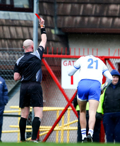Maurice Shanahan is shown a red card