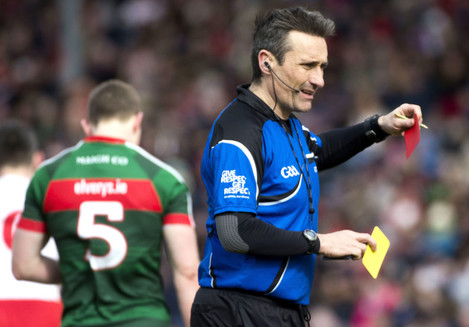 Maurice Deegan issues Colm Boyle a second yellow and red card