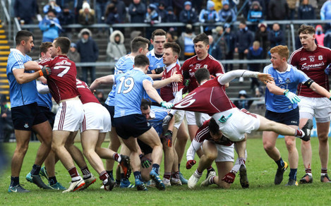 A scuffle breaks out on the pitch between Galway and Dublin players