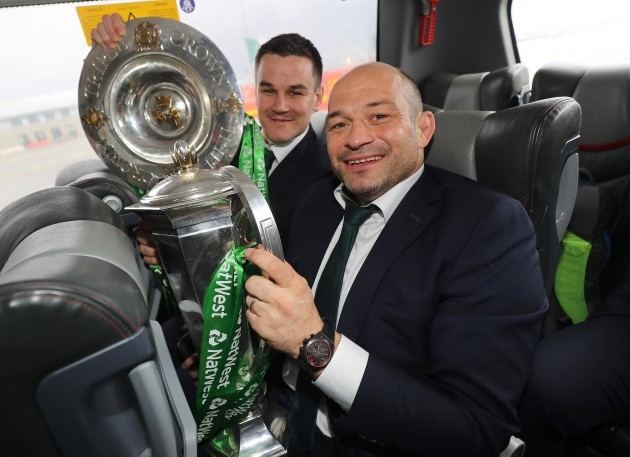 Jonathan Sexton and Rory Best with the Six Nations trophy and the triple crown