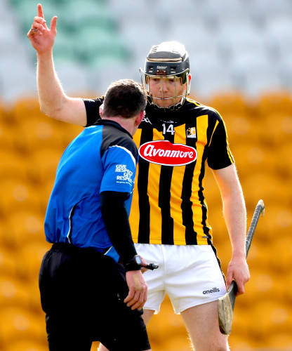 Walter Walsh argues with Paul O'Dwyer after a goal was disallowed