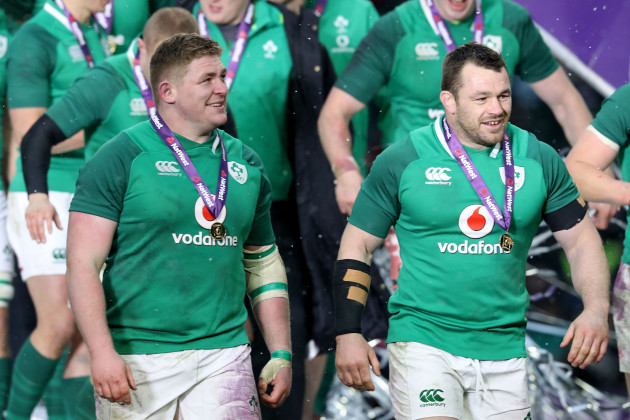 Tadhg Furlong and Cian Healy celebrate after the game