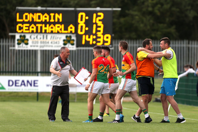 Carlow celebrate after the game