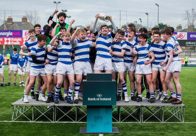 Blackrock college celebrate after the match