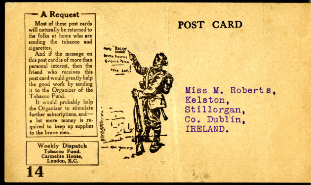 Front of post card RDFA1.02.002b from Private S. Martin to Monica Roberts