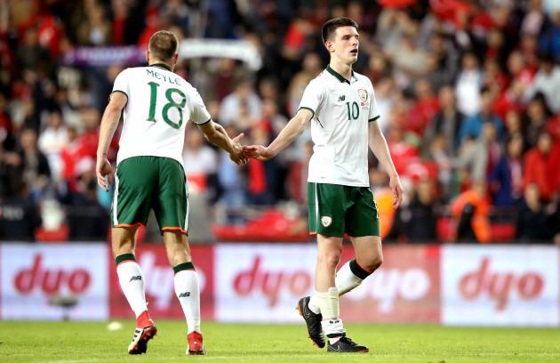 Declan Rice and David Meyler dejected