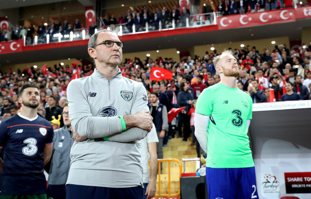 Martin O'Neill during the national anthem