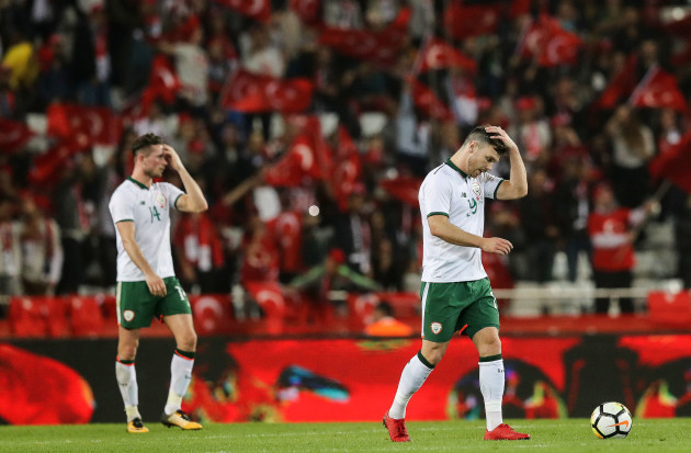 Scott Hogan dejected after his side conceded a goal