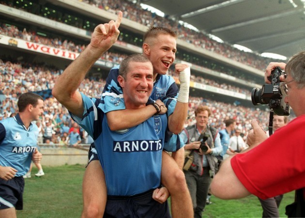 Paul Clarke and Keith Galvin celebrate victory 1995