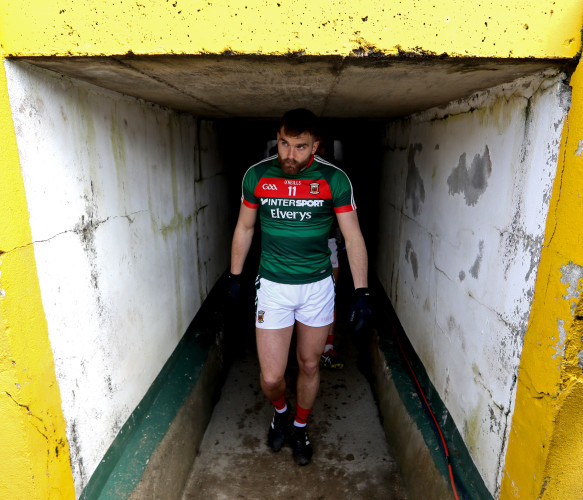 Aidan O'Shea makes his way onto the pitch