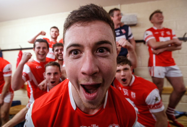 Sean Treacy celebrates after the game