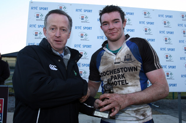Peter O'Mahony receives the man of the match awrd from Maurice Crowley