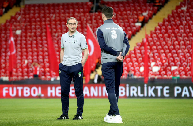 Martin O'Neill with Declan Rice before the game