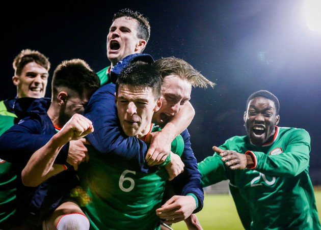 Declan Rice celebrates Sean Donnellan's goal late in the game