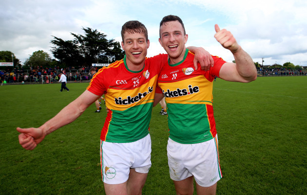 Paul Broderick celebrates after the game with Darragh Foley