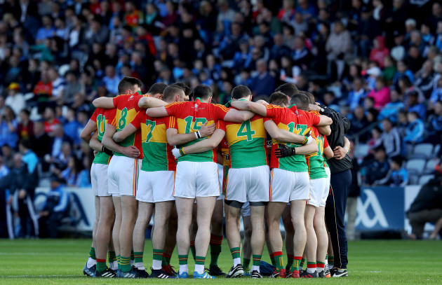Carlow huddle before the game