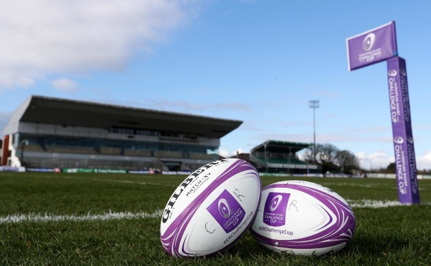 A general view of an EPCR branded flag and match balls