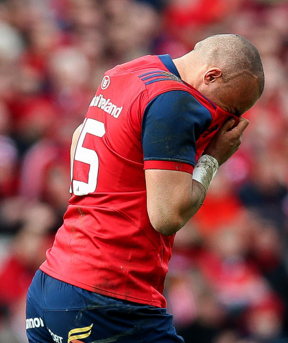 Simon Zebo dejected after being forced to leave the field with injury