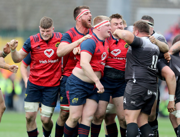 Jack O'Donoghue, Jean Kleyn, John Ryan and Niall Scannell celebrate a penalty from a scrum