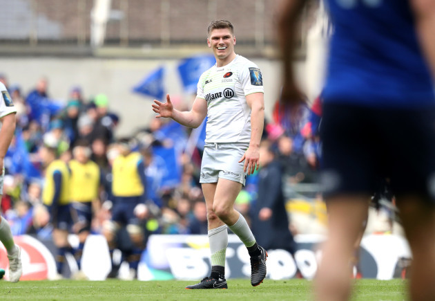 Owen Farrell reacts after a penalty decision