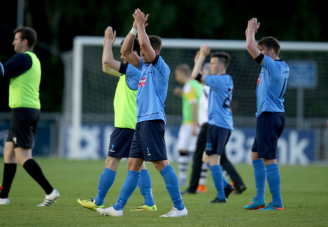 UCD players celebrate after the game