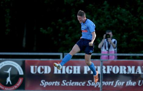 Ryan Swan celebrates scoring a goal