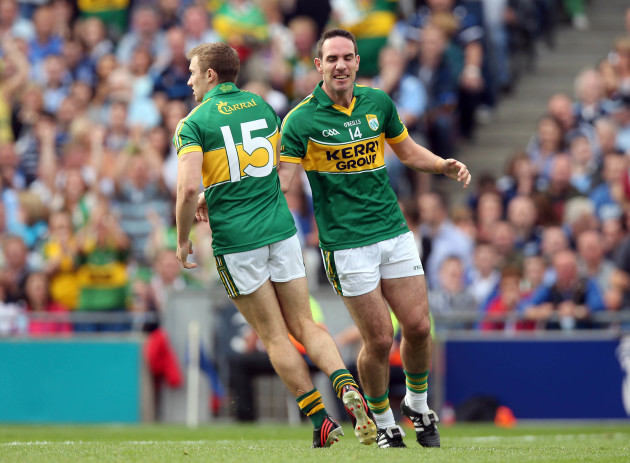 James O'Donoghue celebrates scoring the first goal of the game with Declan O'Sulliva