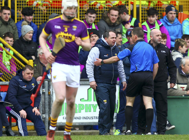 Davy Fitzgerald is spoken to by Colm Lyons