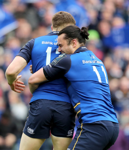 Garry Ringrose celebrates his try with James Lowe