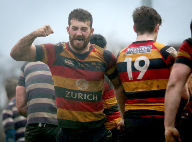 Charlie Butterworth celebrates at the final whistle