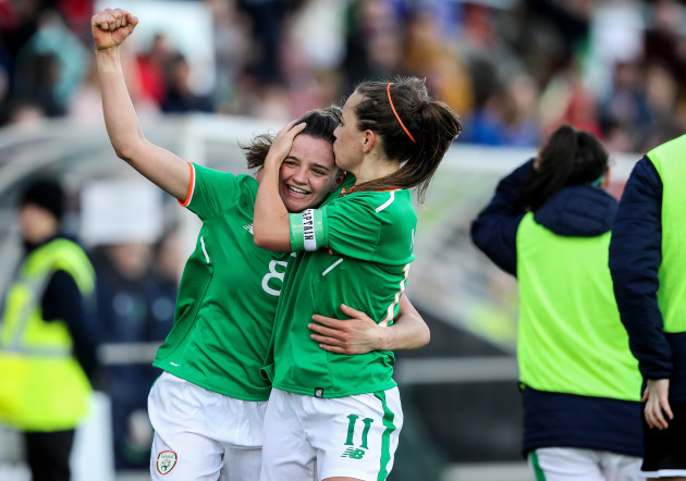 Leanne Kiernan celebrates scoring her sides first goal with Katie McCabe