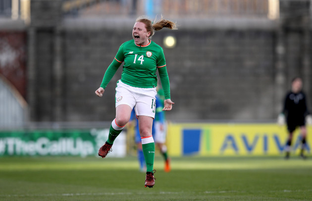 Amber Barrett celebrates at the final whistle