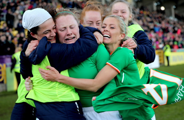 Amber Barrett celebrates scoring her sides second goal with teammates