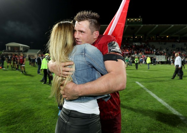CJ Stander celebrates after the game with his wife Jean-Marie