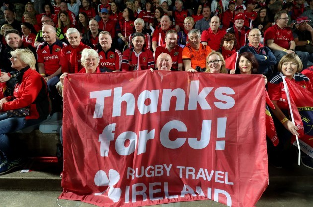 Munster fans hold up a banner thanking South Africa for CJ Stander